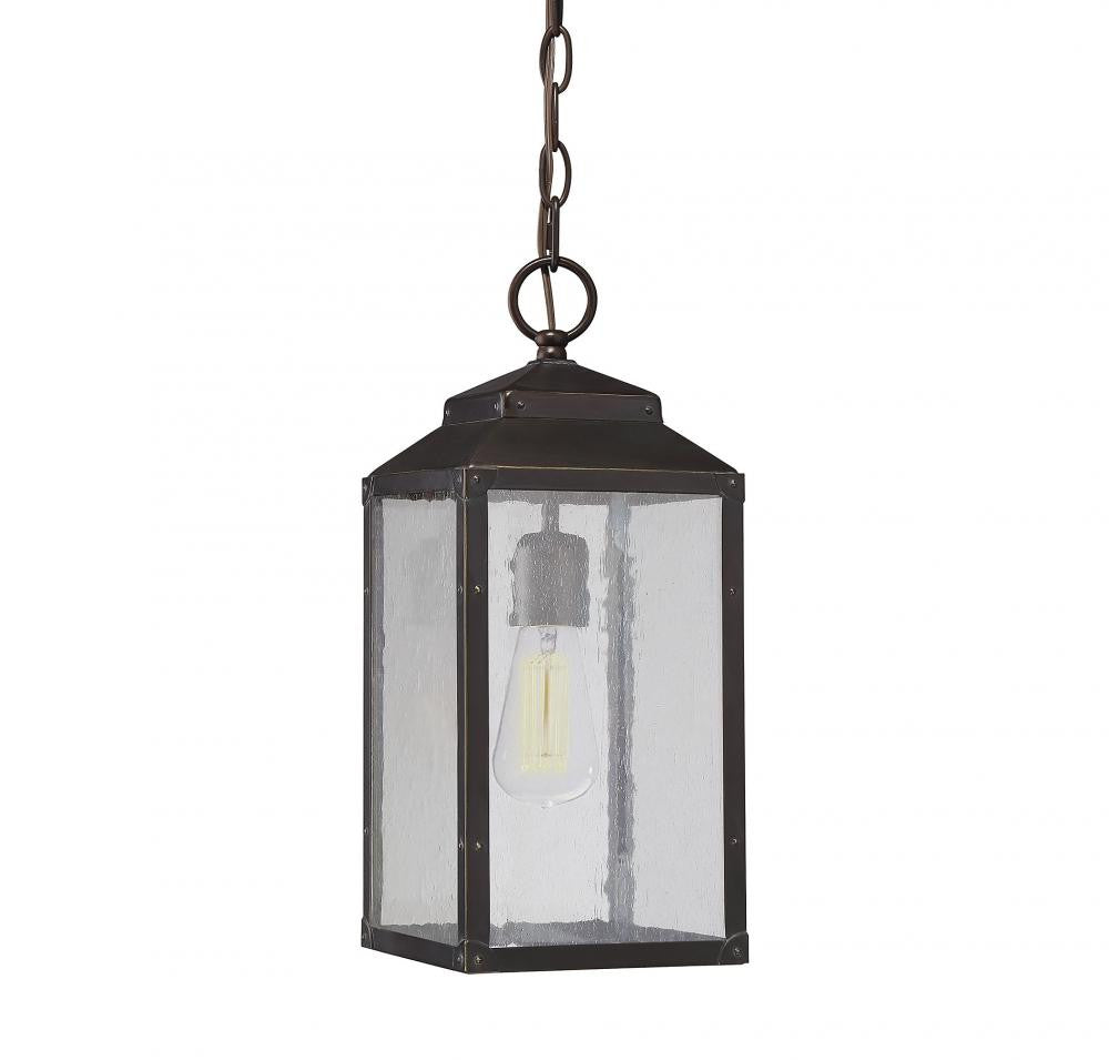 English Bronze Seeded Glass Outdoor Hanging Lantern