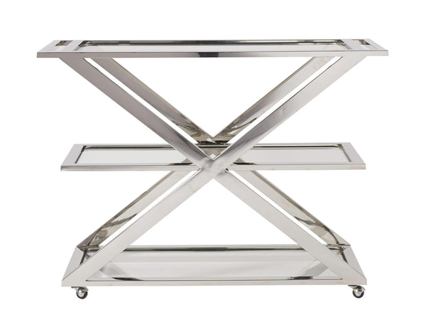 Glass Top Stainless Steel Bar Cart