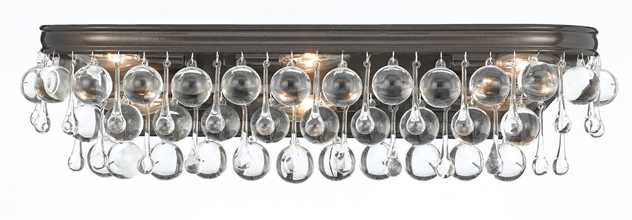 Crystal Teardrop 6 Light Bronze Vanity Light