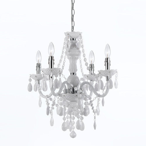 White 4 Light Mini Chandelier, Lighting, Laura of Pembroke