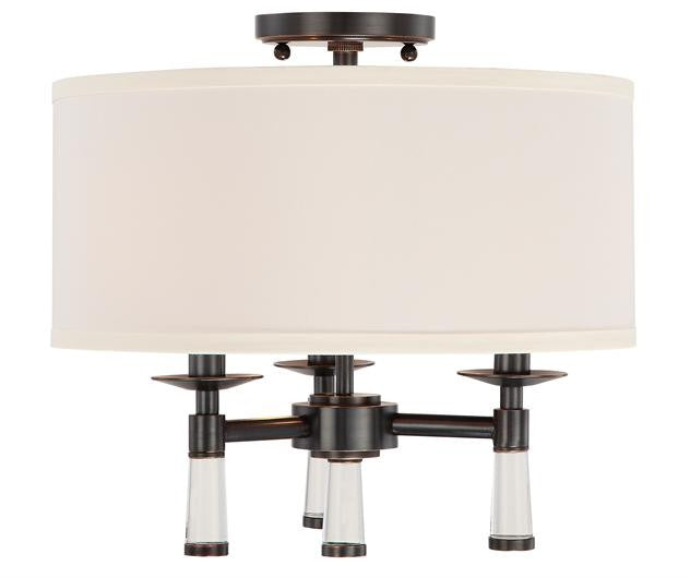 Oil Rubbed Bronze 3 Light Ceiling Mount with Shade, Lighting, Laura of Pembroke