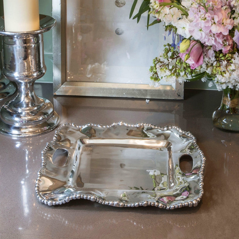 Organic Pearl Kristi Square Tray with Handles