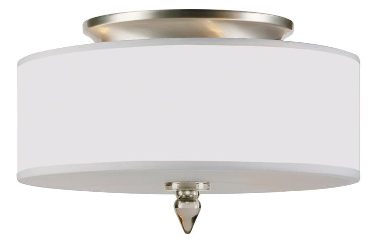 Drum Shade 3 Light Nickel Flush Mount, Lighting, Laura of Pembroke