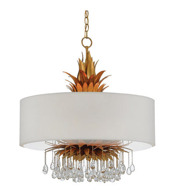 6 Light 24 inch Contemporary Gold and White Chandelier Ceiling Light