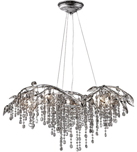 6 Light 31 inch Mystic Silver Chandelier