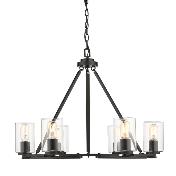 Monroe 6 Light Chandelier in Black with Clear Glass
