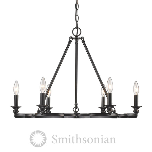 Smithsonian Saxon 6 Light Chandelier in Aged Bronze