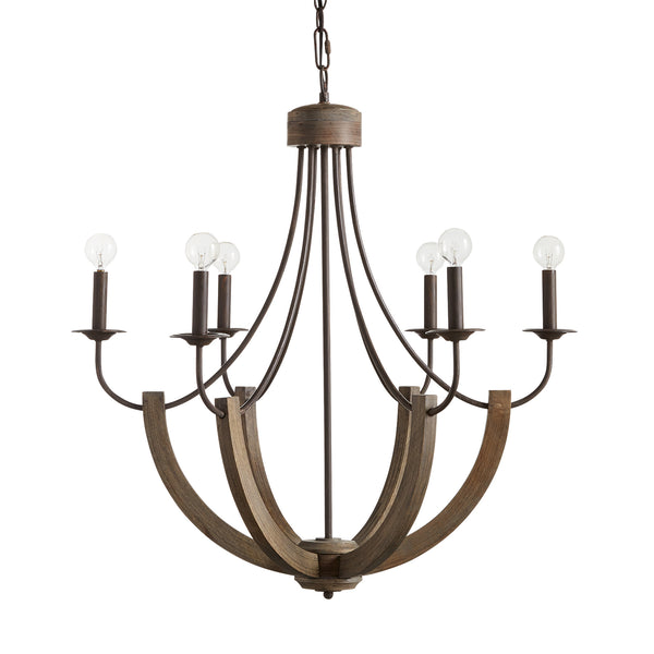 Tybee Natural Wood and Rope 6 Light Chandelier