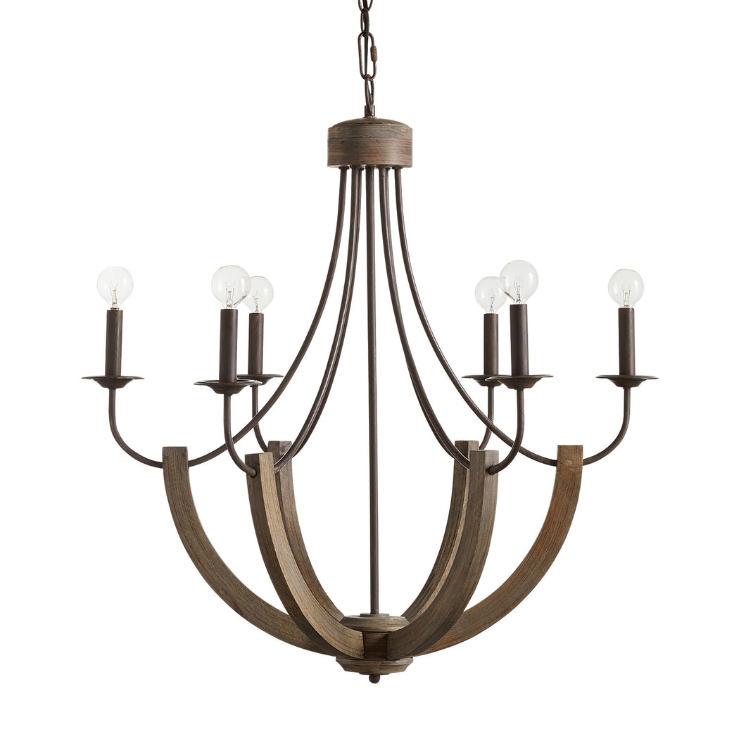 Tybee Natural Wood and Rope 6 Light Chandelier, Lighting, Laura of Pembroke
