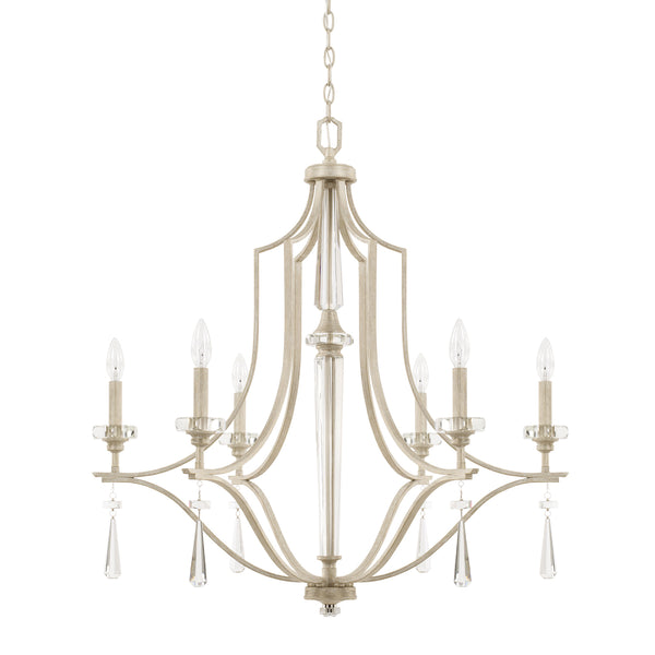 Serena Winter White Crystal 6 Light Chandelier