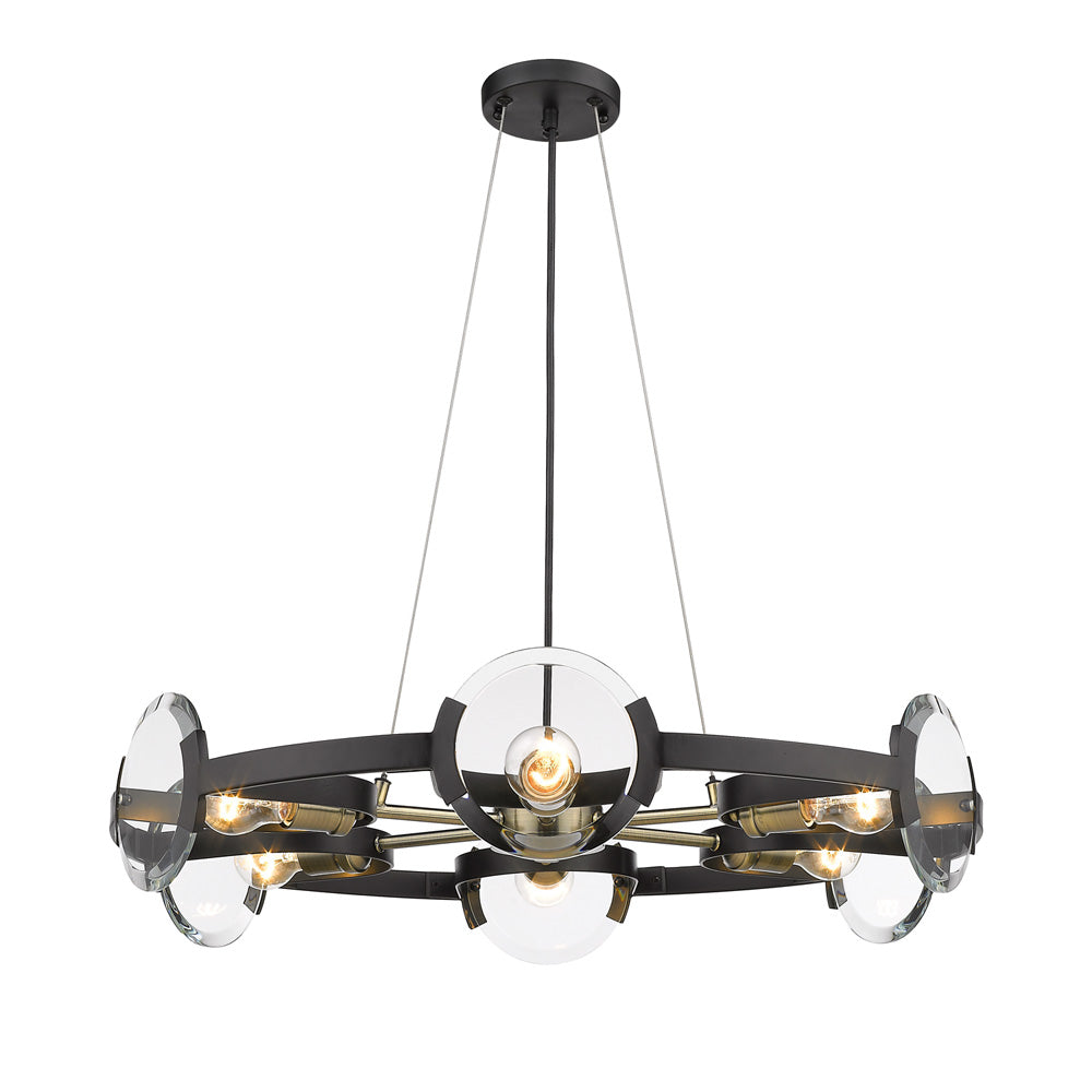 Amari 6 Light Chandelier in Black with Aged Brass Accents, Lighting, Laura of Pembroke
