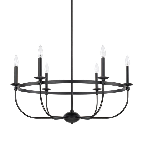 Rylann Matte Black 6 Light Chandelier