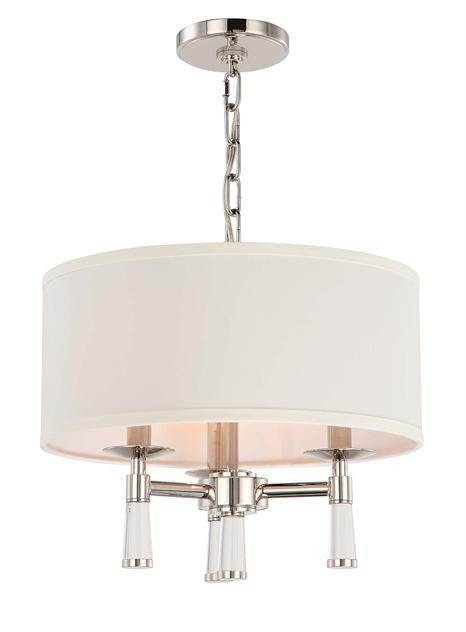 Polished Nickel 3 Light Chandelier with Shade, Lighting, Laura of Pembroke