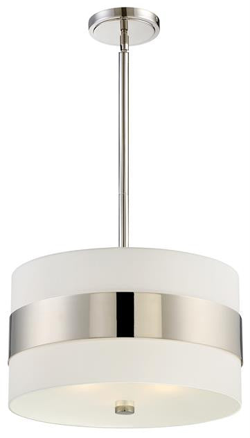 Polished Nickel Stripe 3 Light Pendant, Lighting, Laura of Pembroke