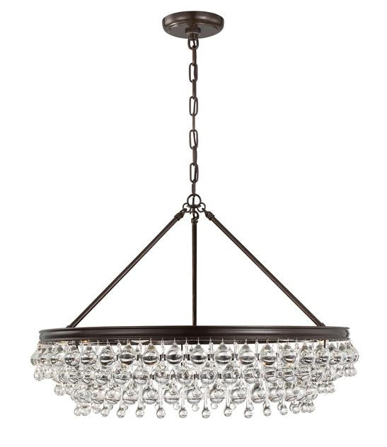 Crystal Teardrop 6 Light Bronze Chandelier, Lighting, Laura of Pembroke