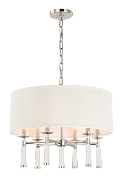 Polished Nickel 6 Light Chandelier with Shade, Lighting, Laura of Pembroke