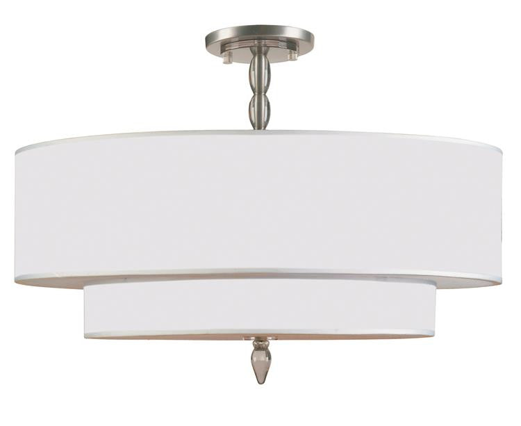 Drum Shade Satin Nickel 5 Light Semi-Flush, Lighting, Laura of Pembroke