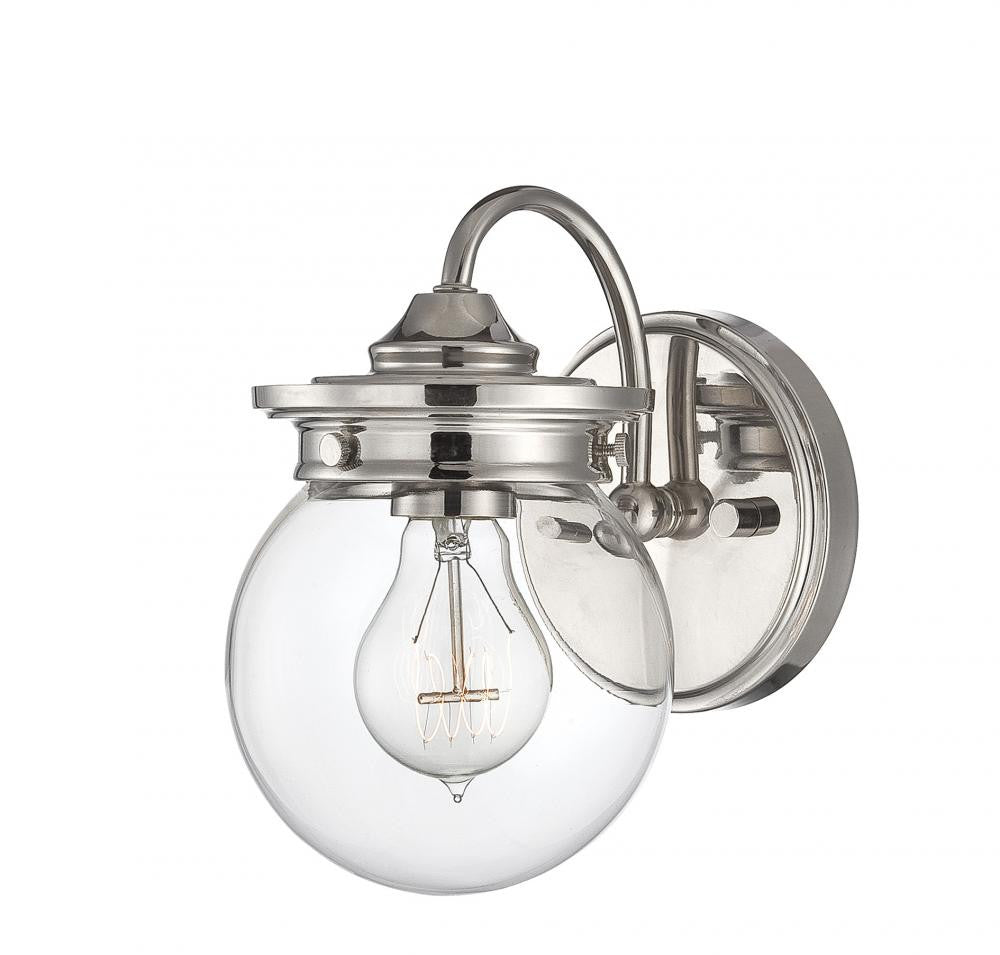 Polished Nickel Globe Sconce, Lighting, Laura of Pembroke