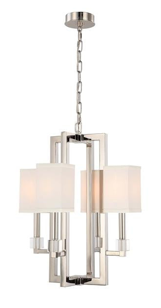Square Shade Polished Nickel 4 Light Chandelier, Lighting, Laura of Pembroke