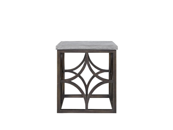 Faux Concrete Square Top End Table