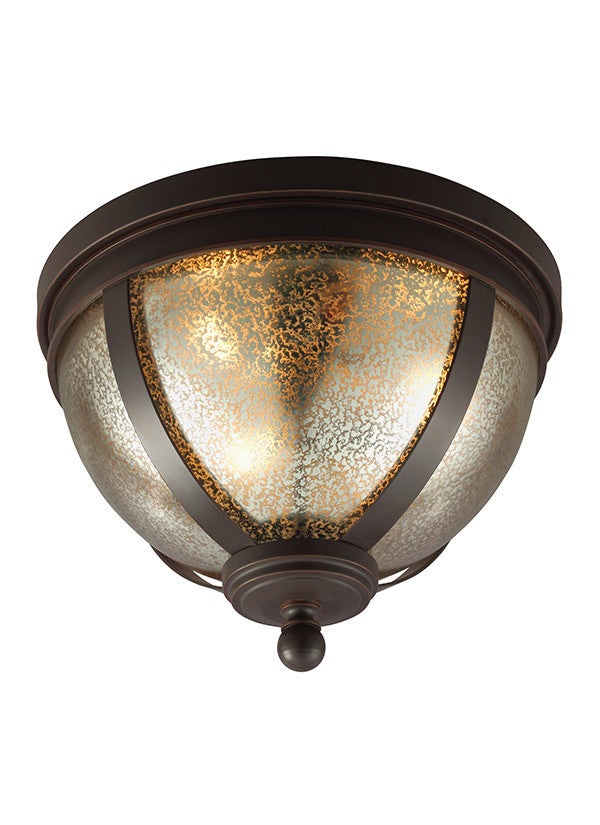 Bronze with Mercury Glass Ceiling Flush Mount
