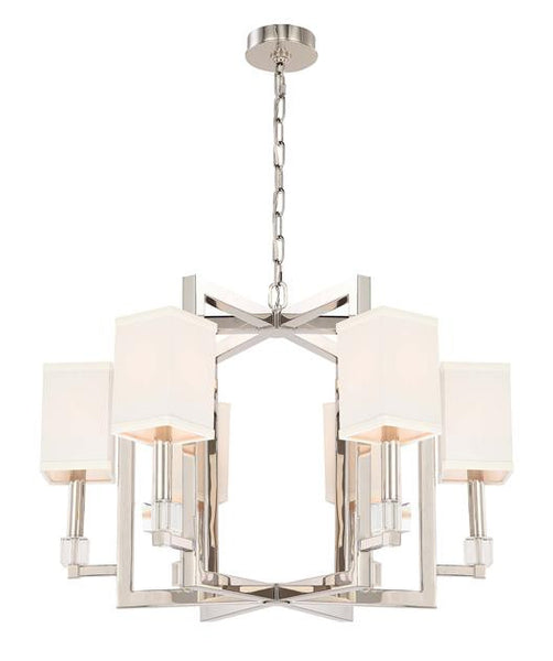 Square Shade Polished Nickel 6 Chandelier, Lighting, Laura of Pembroke