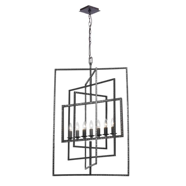 7 Light Raw Steel Chandelier, Lighting, Laura of Pembroke