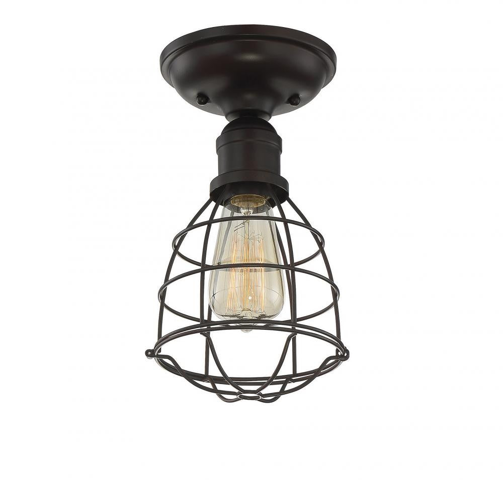 English Bronze Cage 1 Light Semi-Flush