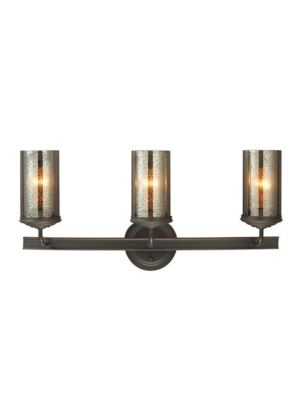 Bronze with Mercury Glass 3 Light Wall/Bath Sconce