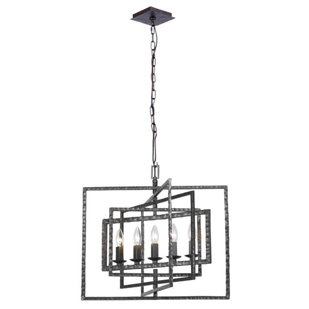 5 Light Raw Steel Chandelier Lighting Laura of Pembroke - Laura of Pembroke Canton Ohio Boutique