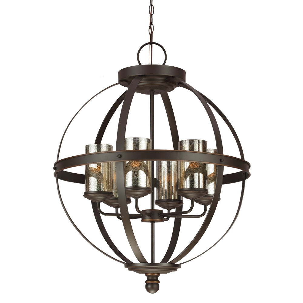 Bronze Sphere with Mercury Glass 6 Light Chandelier, Lighting, Laura of Pembroke