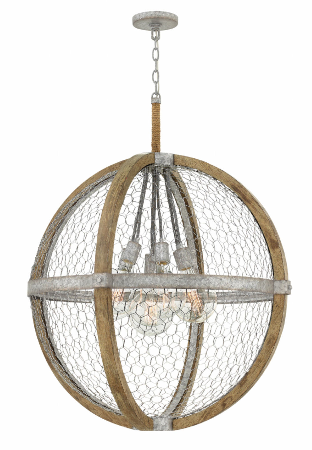 Hanging Wire 7 Light Orb Chandelier