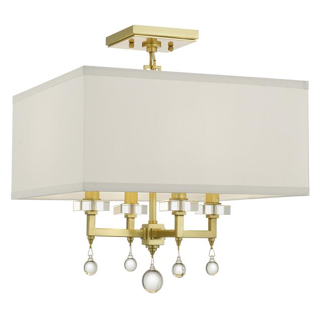 PAXTON 4 LIGHT ANTIQUE GOLD CEILING MOUNT