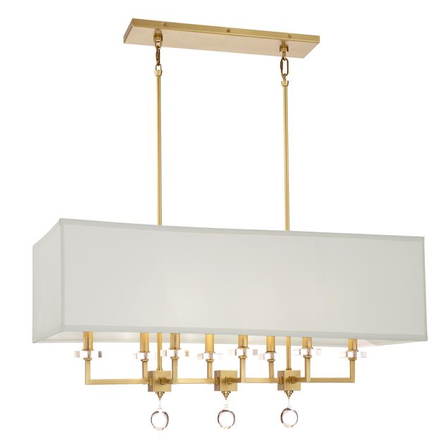 Paxton 8 Light Antique Gold Linear Chandelier