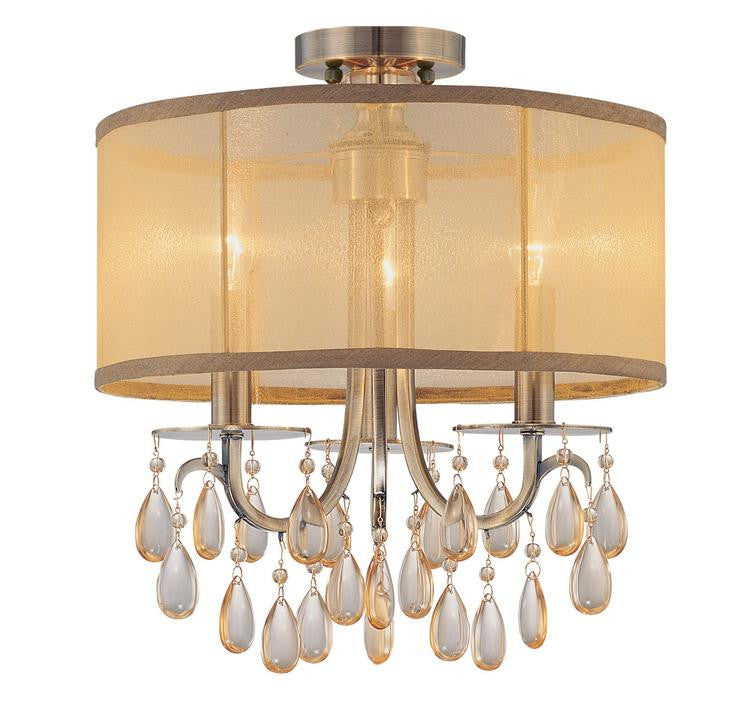 Brass 3 Light Drum Shade Ceiling Mount