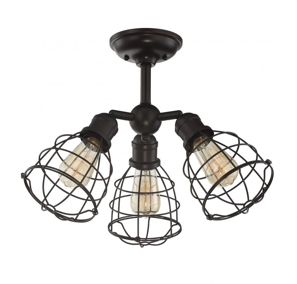 English Bronze Cage 3 Light Adjustable Semi-Flush