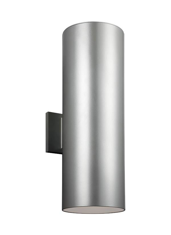Outdoor Cylinders Painted Brushed Nickel Large 2 Light Wall Lantern, Lighting, Laura of Pembroke