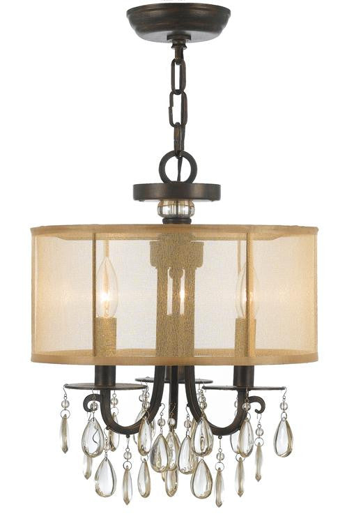 Bronze 3 Light Drum Shade Chandelier, Lighting, Laura of Pembroke