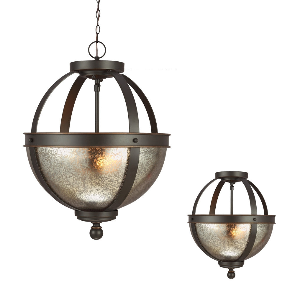 Bronze with Mercury Glass 2 Light Semi Flush Convertible, Lighting, Laura of Pembroke