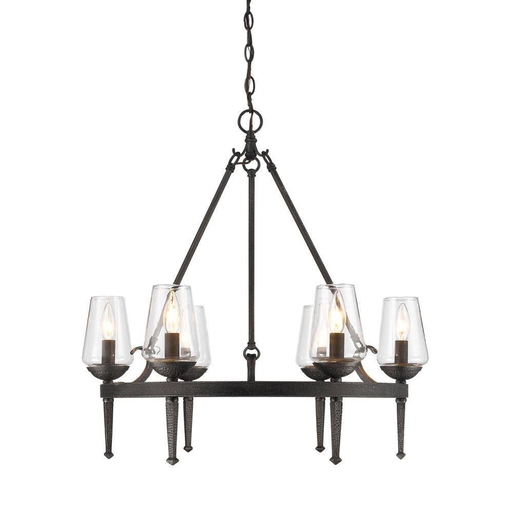 Dark Natural Iron 6 Light Chandelier, Lighting, Laura of Pembroke