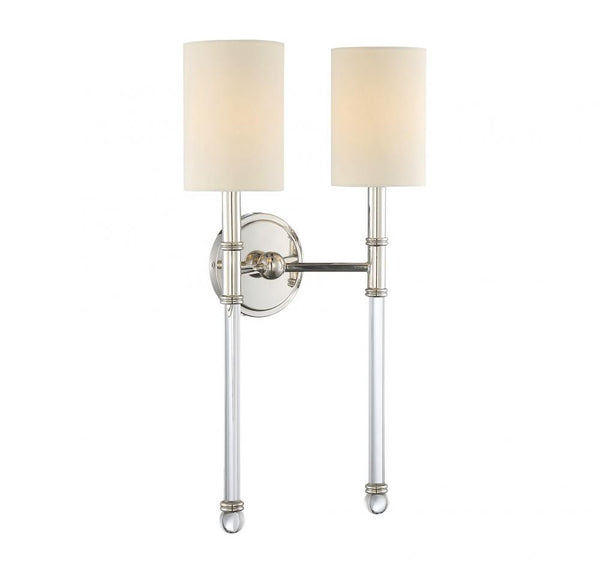 Slim Polished Nickel 2 Light Sconce, Lighting, Laura of Pembroke