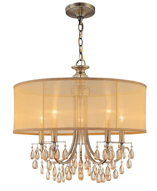 Brass 5 Light Drum Shade Chandelier