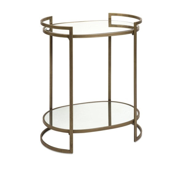 Oval Mirrored Accent Table