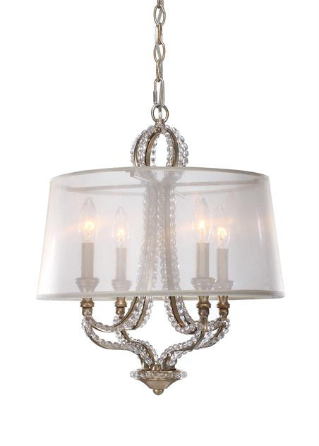 Gold Beaded Garland 4 Light Chandelier with Shade, Lighting, Laura of Pembroke