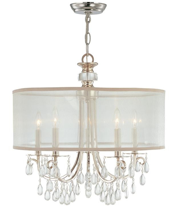 Chrome 5 Light Drum Shade Chandelier, Lighting, Laura of Pembroke