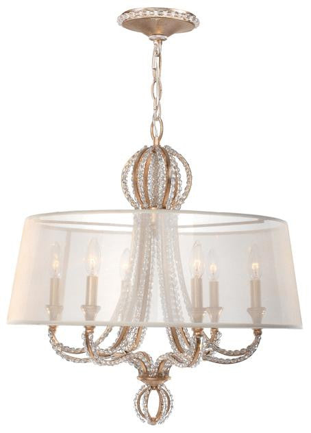 Gold Beaded Garland 6 Light Chandelier with Shade, Lighting, Laura of Pembroke