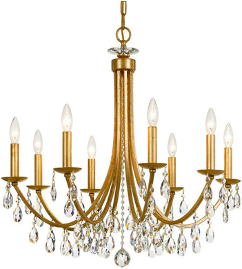 8 Light 28 inch Antique Gold Chandelier