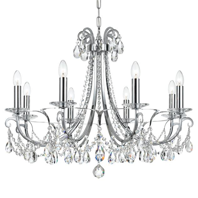 8 Light Clear Crystal Polished Chandelier