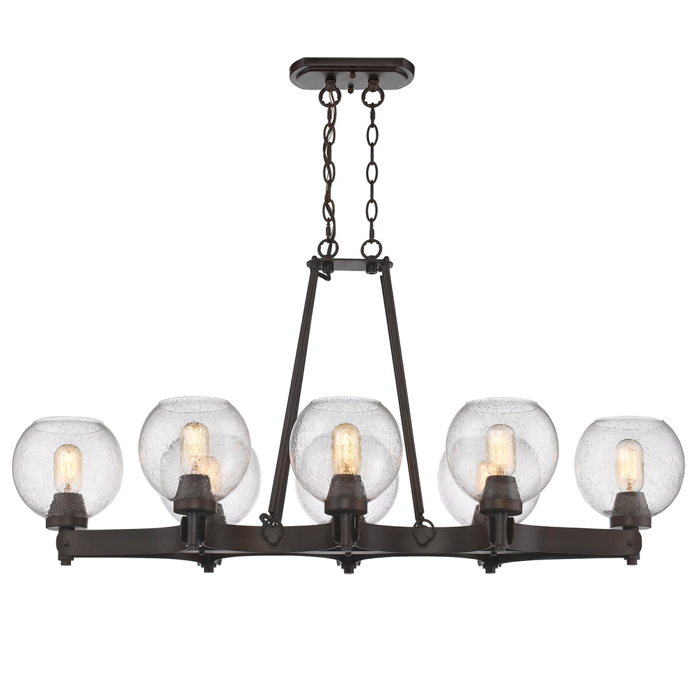 Galveston 8 Light Linear Pendant in Rubbed Bronze with Seeded Glass, Lighting, Laura of Pembroke