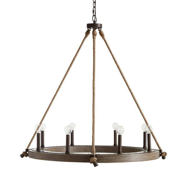 Tybee Natural Wood and Rope 8 Light Chandelier